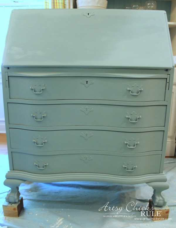 Secretary Desk Makeover (Chalk Paint® By Annie Sloan)   DUCK EGG BLUE