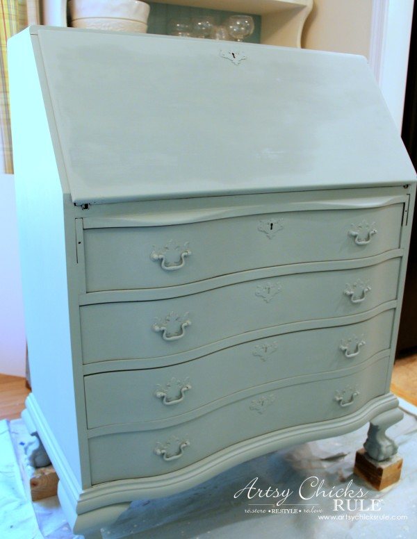 secretary desk makeover w duck egg blue 3 colored waxes chalk
