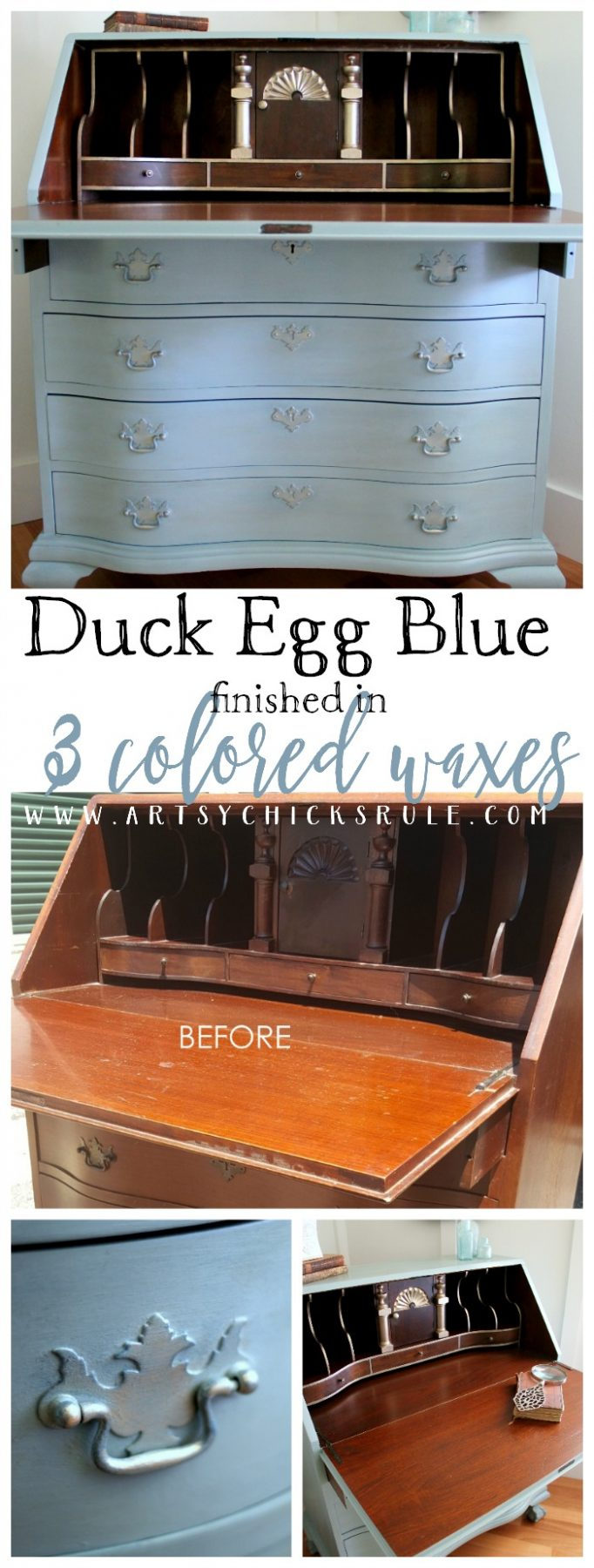 3 Colored Waxes Make This Great! Secretary Desk Makeover (Chalk Paint by Annie Sloan) - Before & After artsychicksrule.com #duckeggblue #chalkpaint