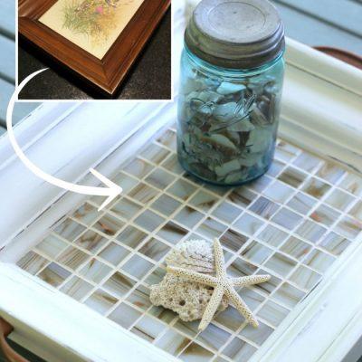 Thrifty Print Turned Tiled Coastal Tray (Trash to Treasure Tuesday)