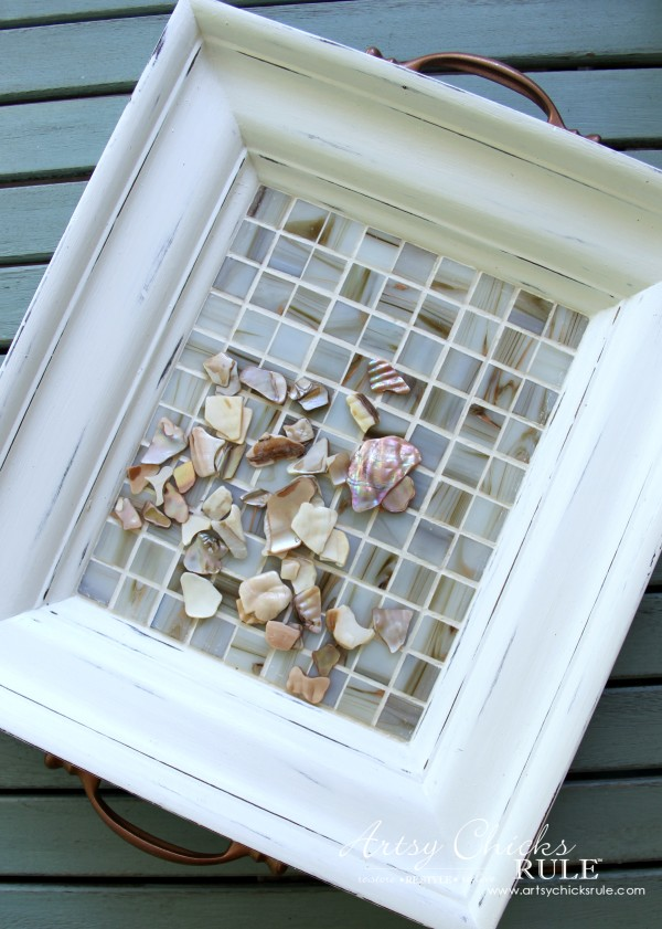 Old Frame Turned TILED COASTAL TRAY - artsychicksrule.com