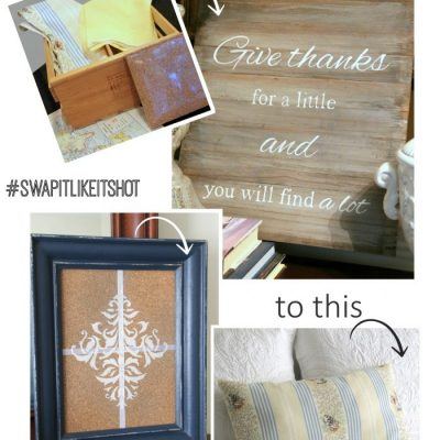 A Faux Weathered Sign, No Sew Pillow & Fancy Cork Board (Swap It Challenge)