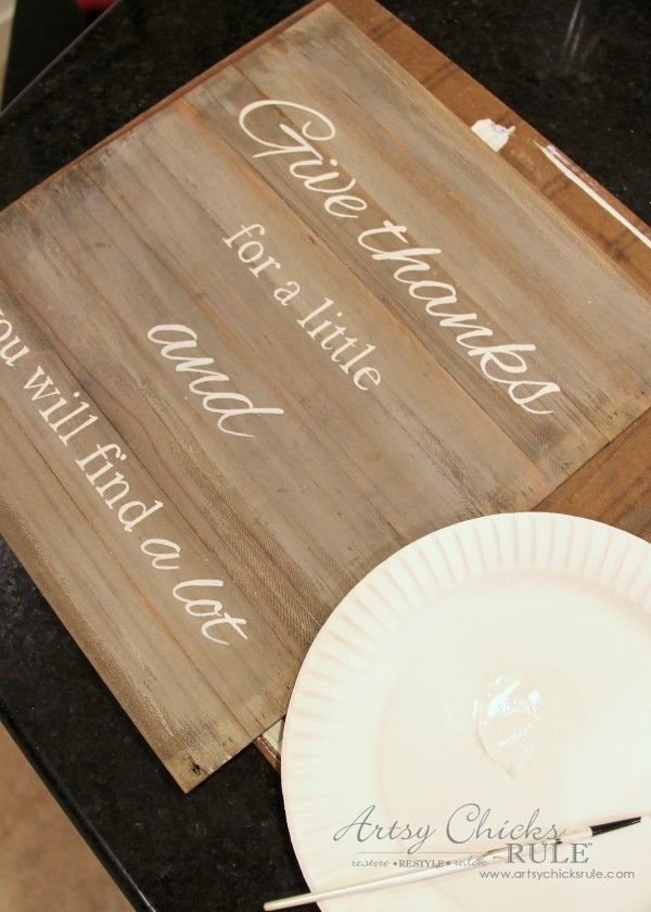 Faux Weathered Give Thanks Sign - artsychicksrule.com #fauxweathered #weatheredsign #givethanks #thankfulsign