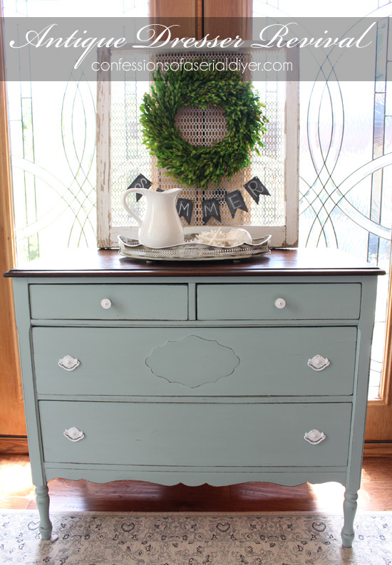 Exceptionnel 45 Blue Furniture Makeovers You Can Do Artsy S Rule Coastal Blue And Antique  Walnut Dresser