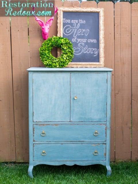 Blue-Milkpainted-Antique-Dresser-Restoration Redoux