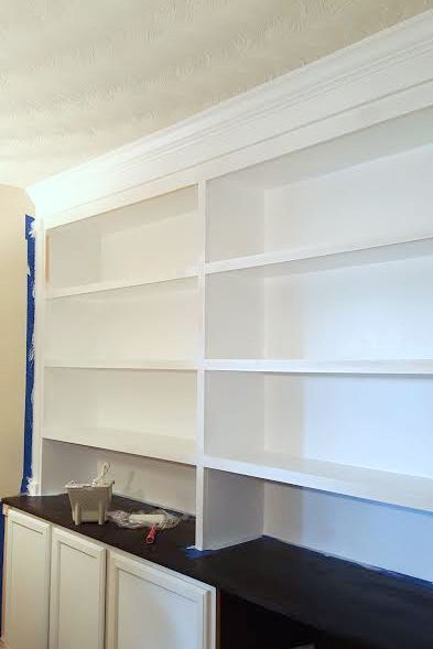 DIY Bookcase Wall Almost Done - artsychicksrule