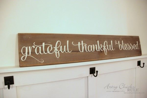 Grateful, Thankful, Blessed DIY Weathered Sign - After Paint Before Distress - artsychicksrule