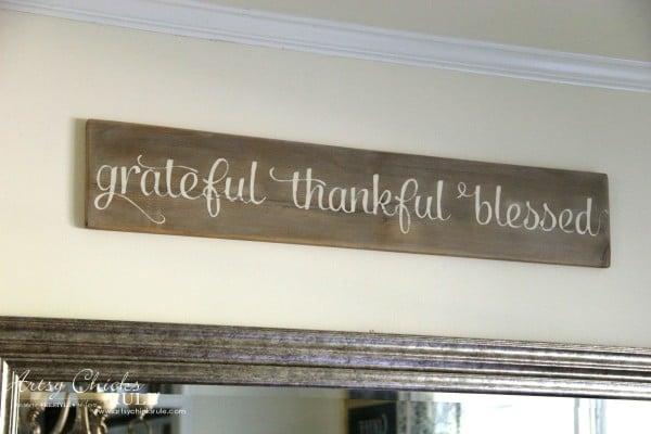 Grateful, Thankful, Blessed DIY Weathered Sign - No Cost Sign - artsychicksrule