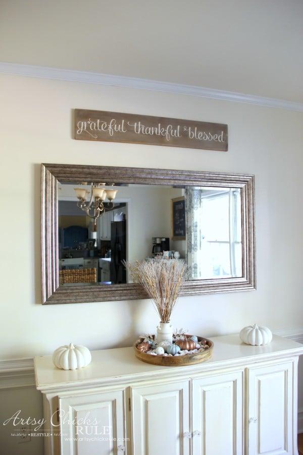 Grateful, Thankful, Blessed DIY Weathered Sign - Vignette - artsychicksrule