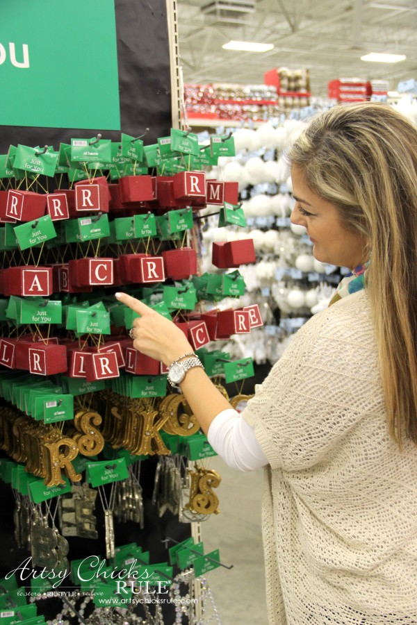 Holiday Decor Ideas with At Home (Pt 1 of 3) Fun with Letter Ornaments - #AtHomeforChristmas #AtHomeFinds #ad