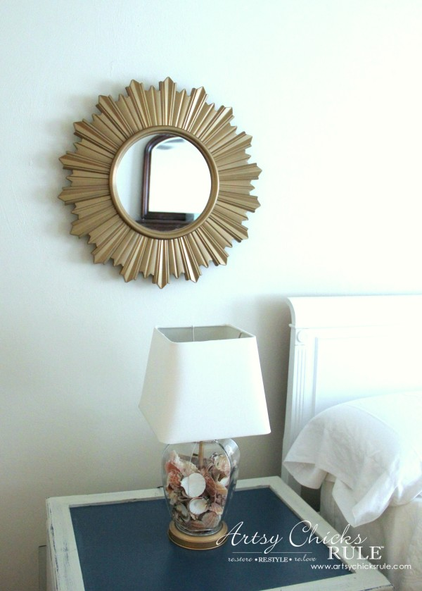 Master Bedroom Makeover Progress - BUDGET MAKEOVER $20 Mirror and THRIFT STORE lamp makeover - artsychicksrule
