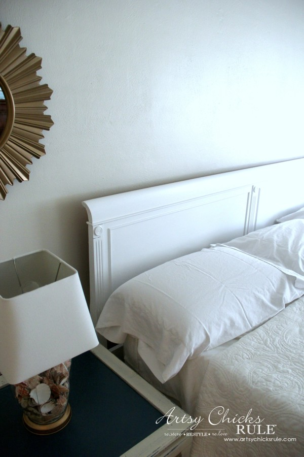 Master Bedroom Makeover Progress - Budget Makeover - $35 Antique Thrifty Headboard Makeover BEHR Paint - artsychicksrule