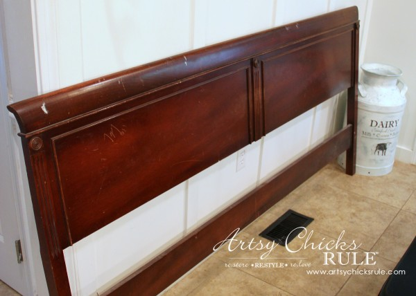 Master Bedroom Makeover Progress - Budget Makeover - $35 Antique Thrifty Headboard - artsychicksrule