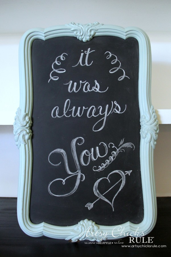 Thrify Mirror to Chalkboard - Chalk Art made- EASY - artsychicksrule #chalkart #chalkboard