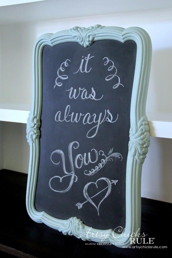Thrify Mirror to Chalkboard - Chalkboard Paint - EASY - artsychicksrule #chalkart #chalkboard