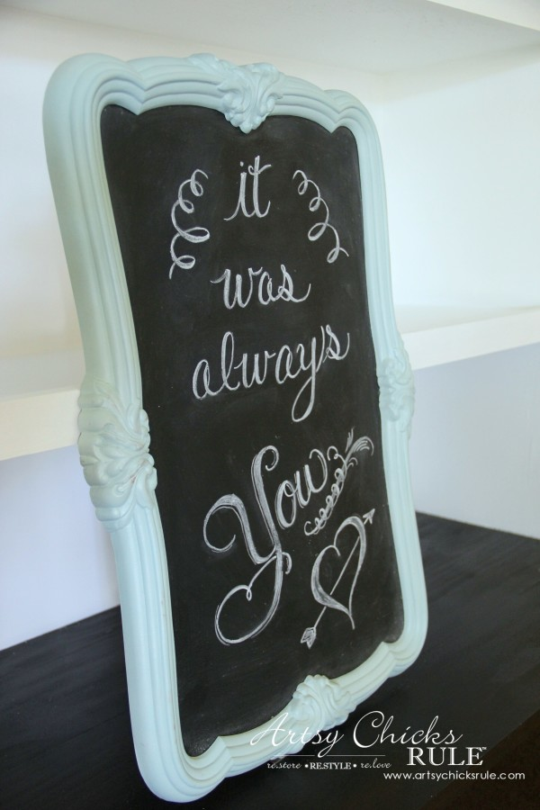 Thrify Mirror to Chalkboard - Paint the backside of the mirror with Chalkboard Paint - Add Chalk ART - artsychicksrule #chalkart #chalkboard
