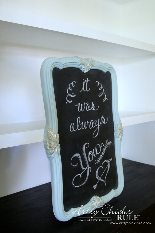Thrify Mirror to Chalkboard - Paint the backside of the mirror with Chalkboard Paint - Chalk Lettering - artsychicksrule #chalkart #chalkboard