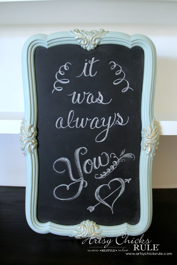 Thrify Mirror to Chalkboard - Paint the backside of the mirror with Chalkboard Paint - Paint Frame and done! - artsychicksrule #chalkart #chalkboard