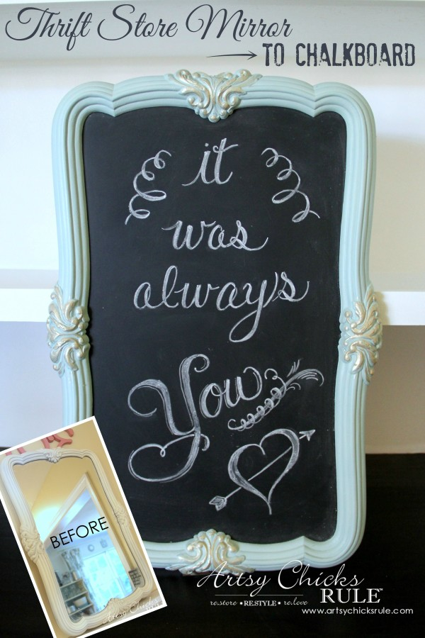 Old Mirror Turned Chalkboard