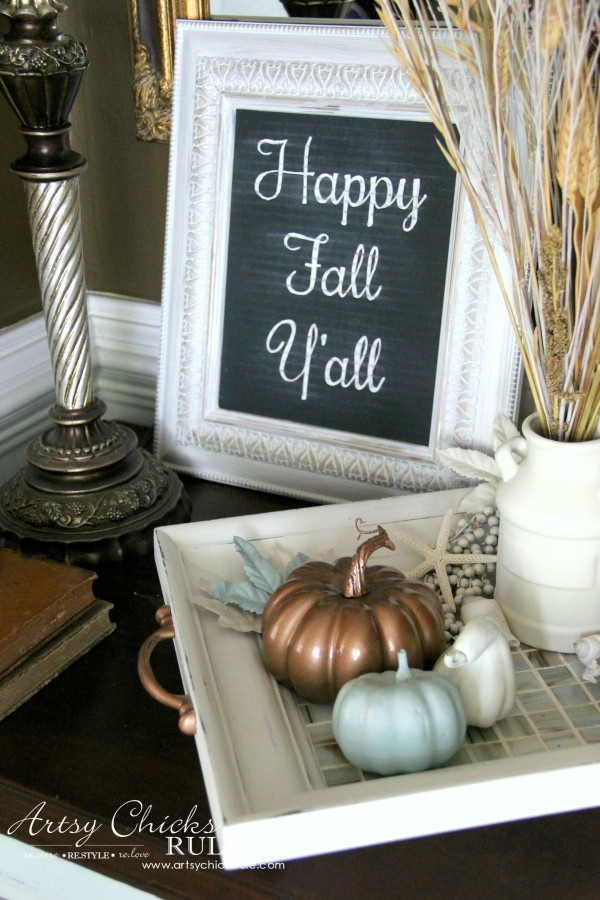 Welcoming Fall Foyer - Neutral Coastal Decor - Happy Fall Sign - artsychicksrule
