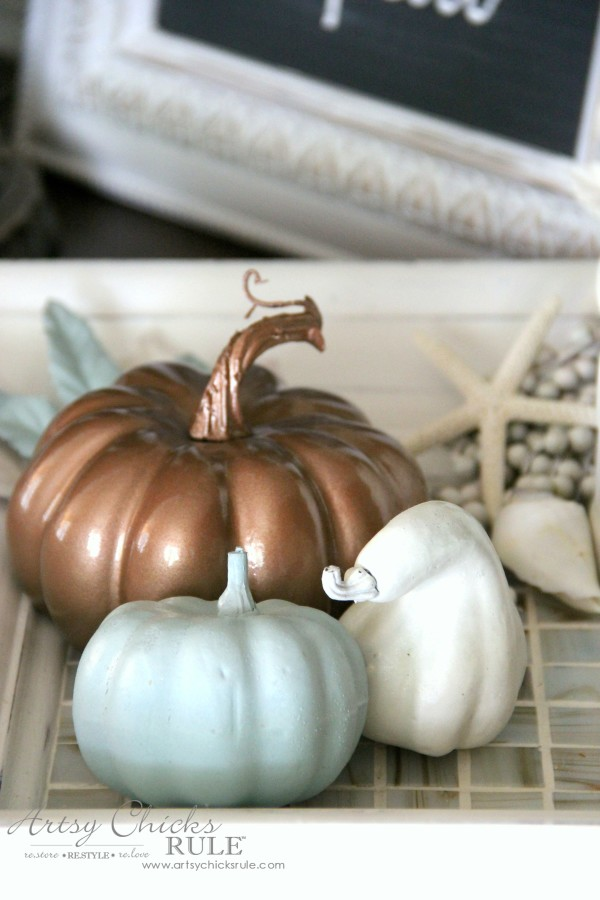 Welcoming Fall Foyer - Neutral Coastal Decor - Spray Painted Pumpkins - artsychicksrule