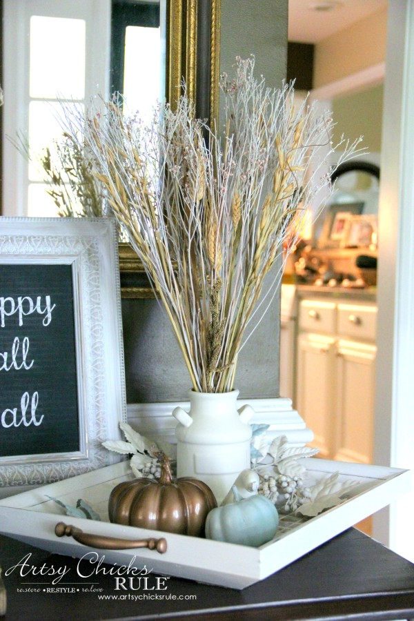 Welcoming Fall Foyer - Neutral Coastal Decor - Thrift Store Print Turned Tiled Tray - artsychicksrule