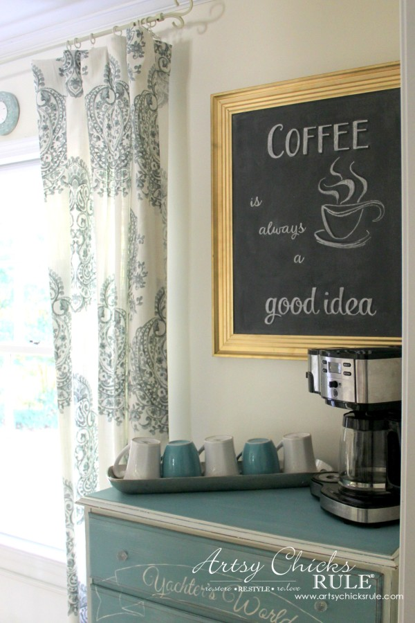 Chalkboard (repurposed framed print) to Coffee Bar Menu Board - COFFEE BAR SETUP - artsychicksrule #chalkboard #coffeebar