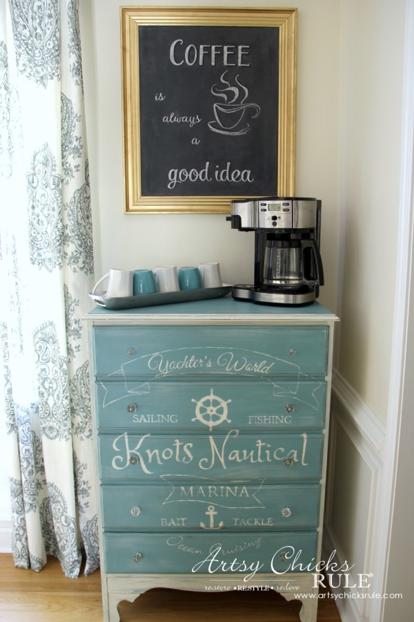 Chalkboard (repurposed framed print) to Coffee Bar Menu Board - COFFEE BAR - artsychicksrule #chalkboard #coffeebar