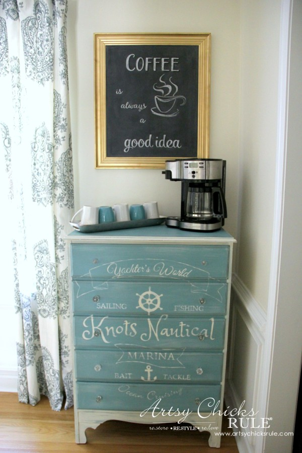 Chalkboard (repurposed framed print) to Coffee Bar Menu Board - LOVE A COFFEE BAR - artsychicksrule #chalkboard #coffeebar