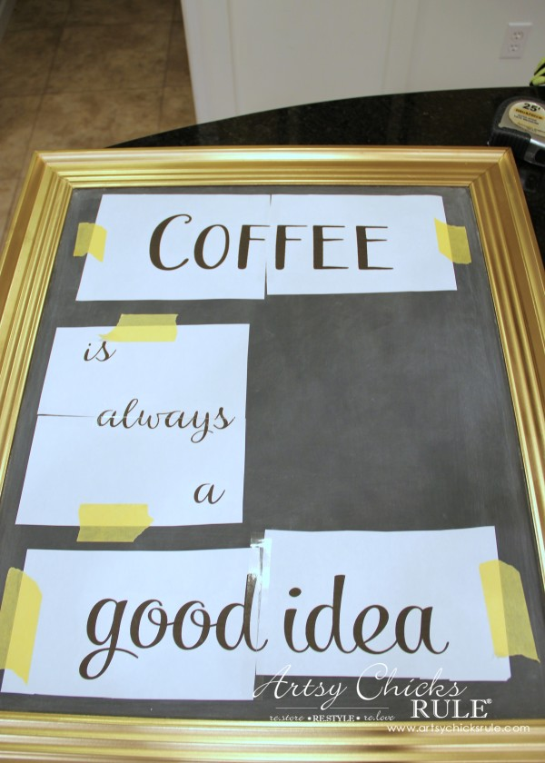 Chalkboard (repurposed framed print) to Coffee Bar Menu Board - TRANSFERRING LETTERING - artsychicksrule #chalkboard #coffeebar