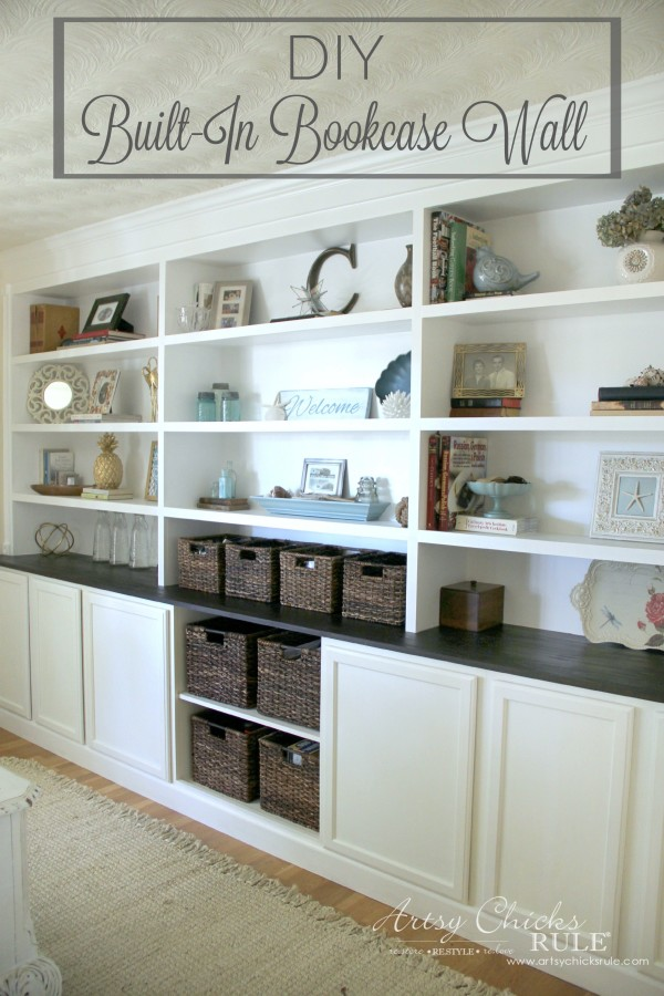 DIY Built-In Bookcase Wall - Custom Look DIY - artsychicksrule #bookcase #diy #builtinbookcase