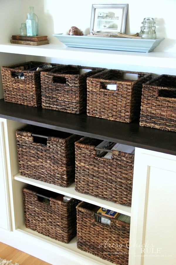 DIY Built-In Bookcase Wall - LOVE these baskets from Target - artsychicksrule #bookcase #diy