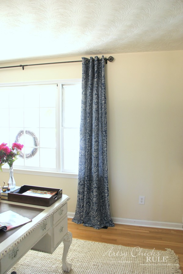 DIY Built-In Bookcase Wall - New Blue Curtains - artsychicksrule #bookcase #diy