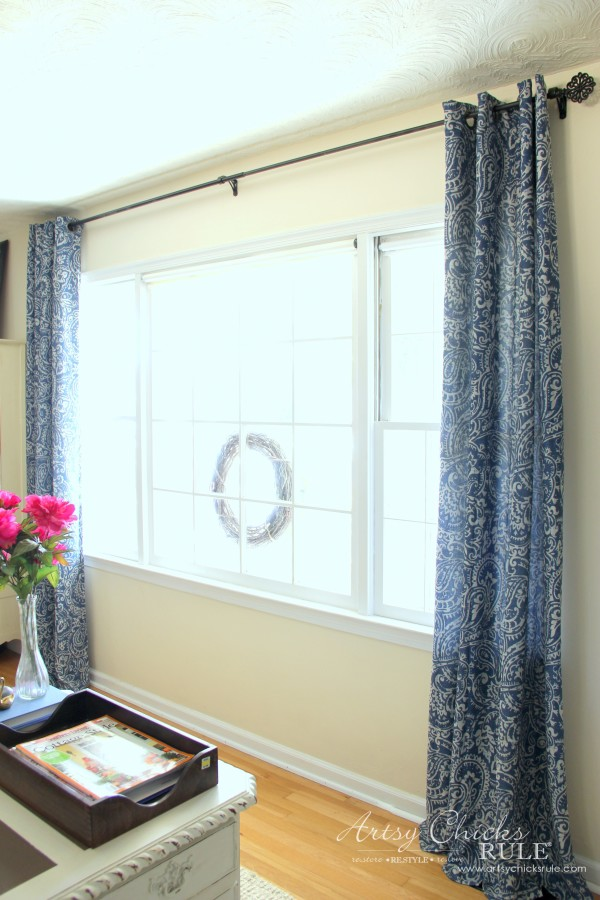 DIY Built-In Bookcase Wall - New Curtains Kohls - artsychicksrule #bookcase #diy