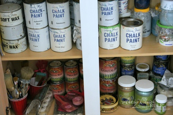 DIY Built-In Bookcase Wall - Paint Storage - artsychicksrule #bookcase #diy