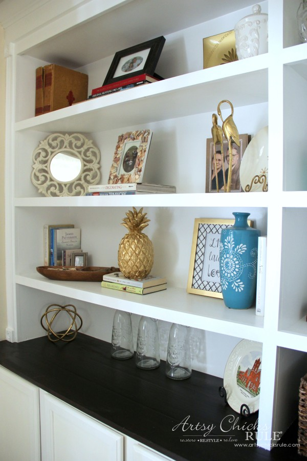 DIY Built-In Bookcase Wall - Styling 2 - artsychicksrule #bookcase #diy