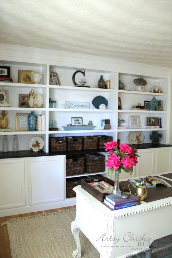 DIY Built-In Bookcase Wall - Use Ready Made Cabinets - artsychicksrule #bookcase #diy
