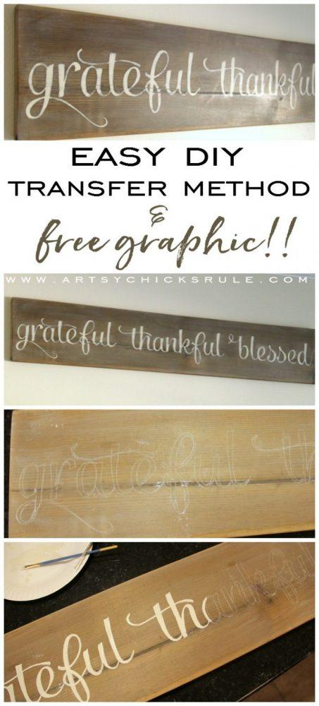 Make this!! So easy, love it! Grateful, Thankful, Blessed Sign artsychicksrule.com #gratefulsign #diysign #thankfulsign #blessedsign