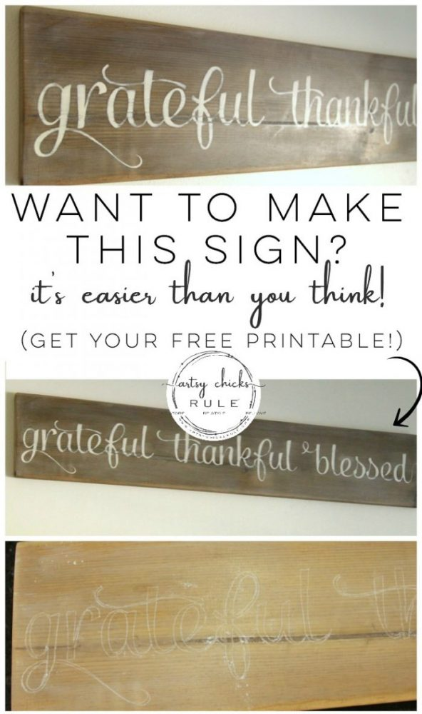 Make this!! So easy, love it! Grateful, Thankful, Blessed Sign artsychicksrule.com #gratefulsign #diysign #thankfulsign #blessedsign #weatheredwood #fauxweathered
