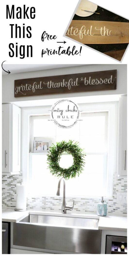 Grateful, Thankful, Blessed DIY Weathered Sign - Scrap Wood - artsychicksrule #gratefulthankfulblessed #gratefulsign #blessedsign #thankfulsign