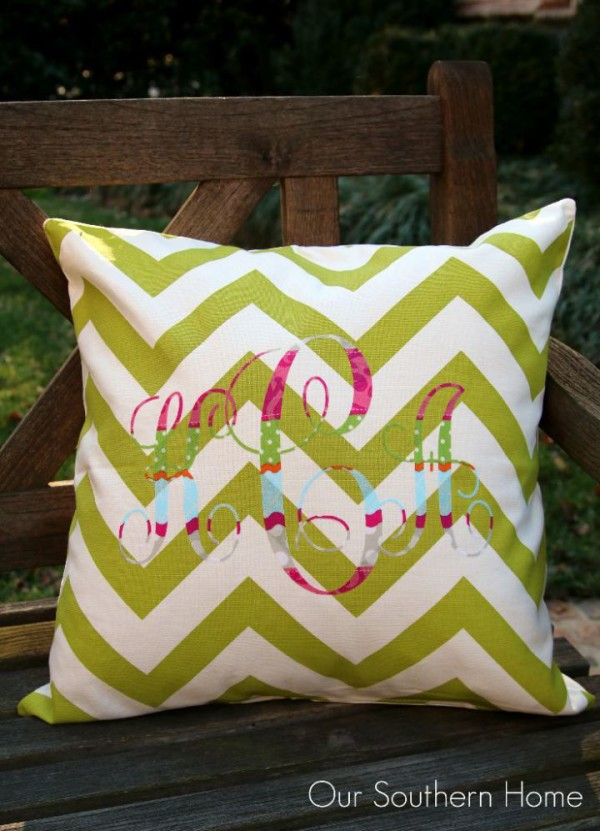 No-Sew-Monogram-Pillow-from-our southern home