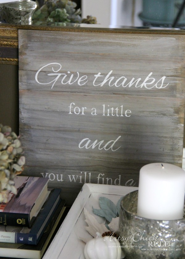 Thanksgiving Foyer - Give Thanks DIY Sign - artsychicksrule