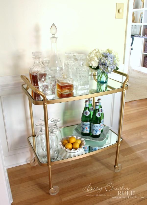 Beverage Cart Goes Glam (Trash to Treasure) - AFTER NEW MIRRORED SHELVES - artsyhchicksrule #beveragecart