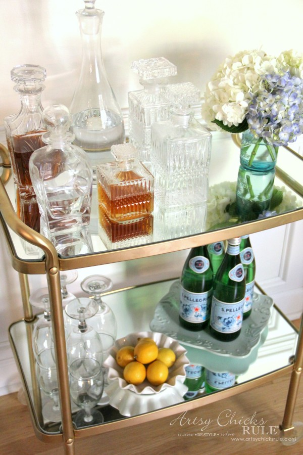 Beverage Cart Goes Glam (Trash to Treasure) - AFTER with mirrors - artsyhchicksrule #beveragecart