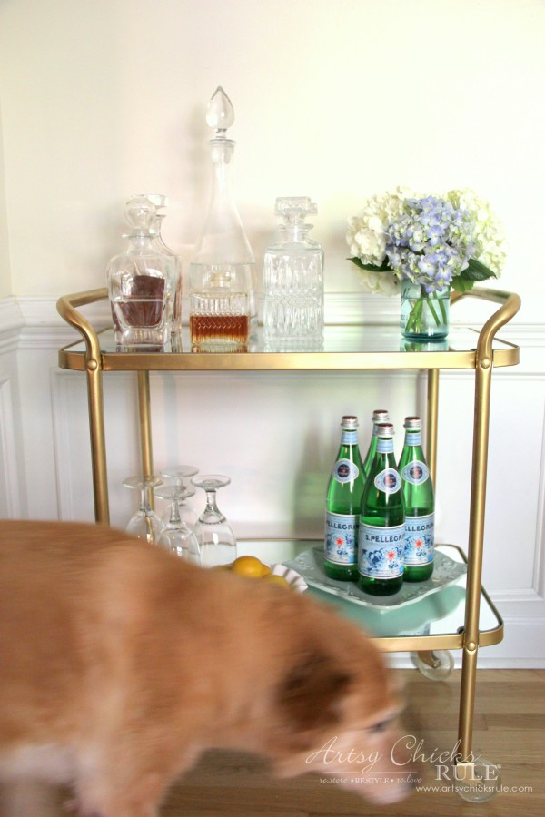 Beverage Cart Goes Glam (Trash to Treasure) - Lexilou walking through - artsyhchicksrule #beveragecart