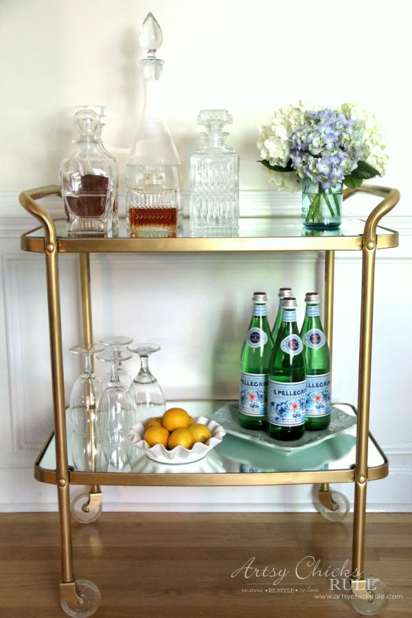 Beverage Cart Goes Glam (Trash to Treasure) - thrifty makeover SAVED MONEY - artsyhchicksrule #beveragecart