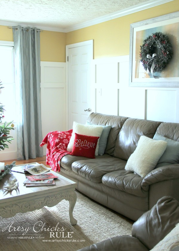 Christmas Home Tour 2015 - Believe Pillow - artsychicksrule.com #christmashometour