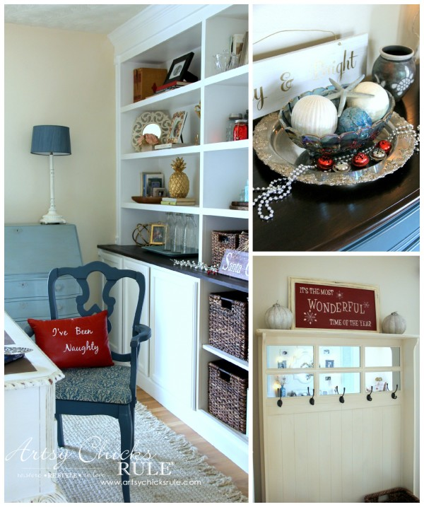 Christmas Home Tour 2015 - Chalk Painted Pillow, DIY Sign and Simple Decor - artsychicksrule.com #christmashometour