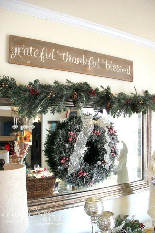 Christmas Home Tour 2015 - DIY Faux Driftwood Weathered Sign - artsychicksrule.com #christmashometour