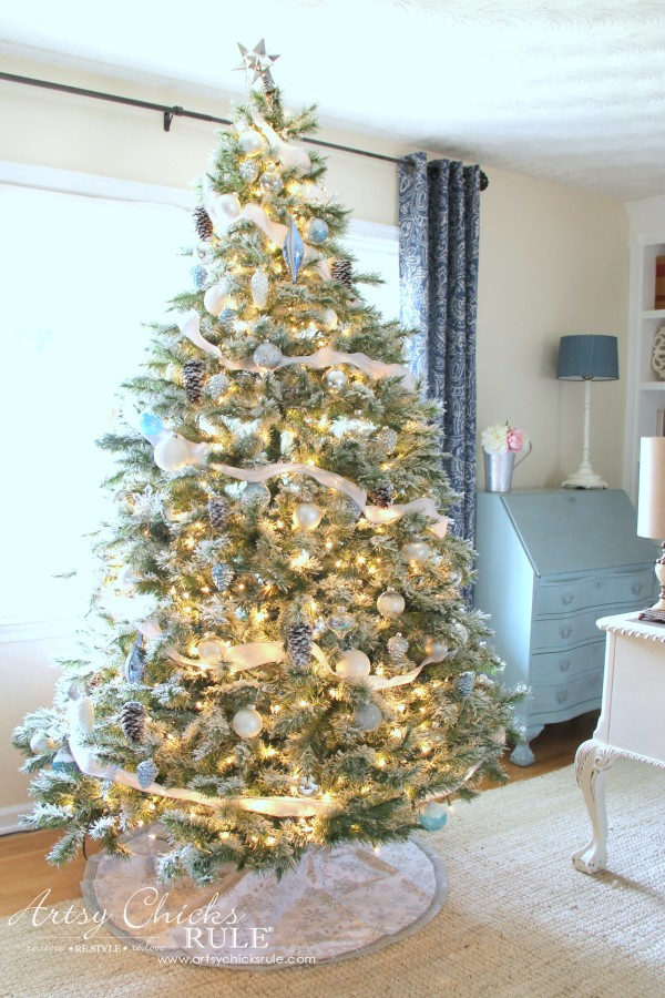 Christmas Home Tour 2015 - DIY Flocked Tree - artsychicksrule.com #christmashometour